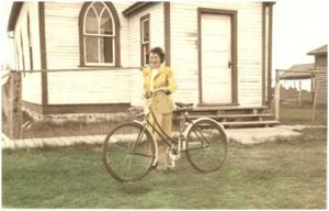 """Deaconesses often served as """"ministers"""" when a man couldn't be found to fill the pulpit. Jessie MacLeod in Success, SK Deaconess Student Summer Placement in 1946."""