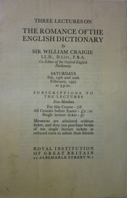 'Three lectures on The Romances of the English Dictionary' by Sir William Craigie