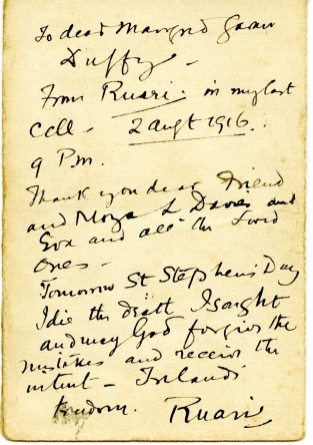 Note written by Casement the night before his execution (UCDA P152/11)