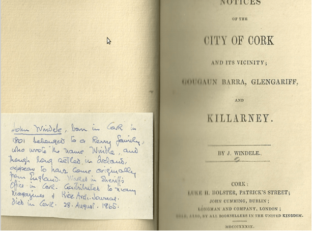 From Bourke's collection of tour guides with an note inserted in Bourke's hand