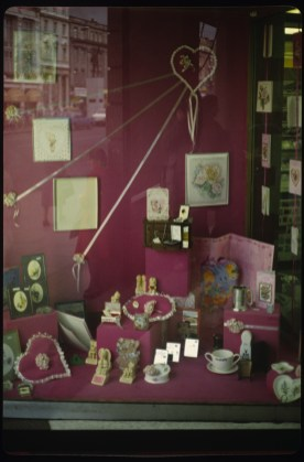 St Valentine's Day gifts in shop-window, O'Connell Street, Dublin 1980