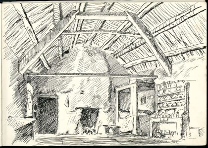 Sketch of dwelling House Interior, Co. Donegal.