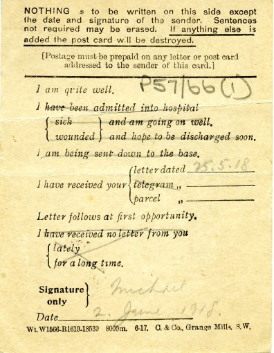 Michael's last post card to his mother, 2 June 1918 (UCDA P57/66)