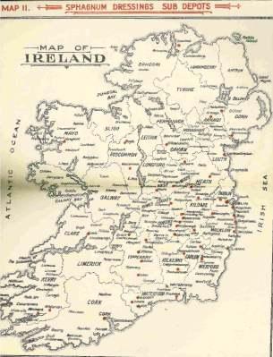Map of Ireland showing sphagnum dressing sub depots