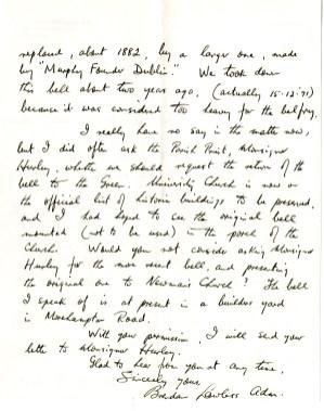 Letter from Brendan Lawless