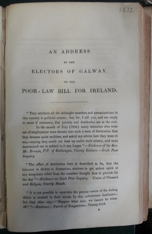 'An Address to the Electors of Galway on the Poor-Law Bill for Ireland'
