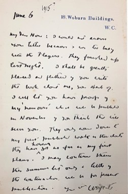 A letter from Yeats to J.M. Hone, June 1915.