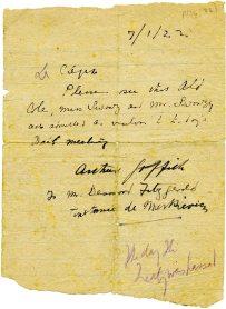 Note admitting Cole to the Dáil, 7 January 1922 (UCDA P134/33)