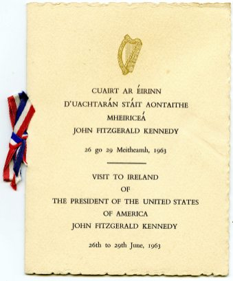 Invitation booklet for John F. Kennedy's visit to Ireland in Jun 1963 (UCDA P205/7)