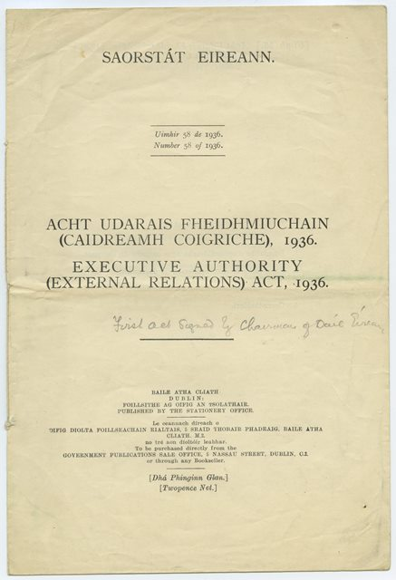 Cover of the External Relations (Executive Authority) Act of 1936