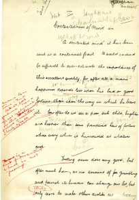 Hand written essay entitled 'Contentedness of Mind', with corrections! (UCDA P123/6/8r)