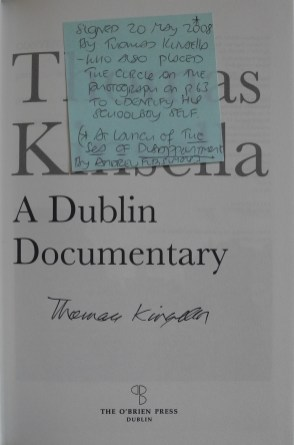 O'Driscoll's handwritten post-it note inside 'A Dublin Documentary' by Thomas Kinsella.