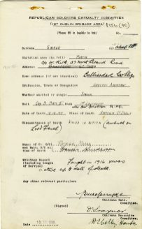 Martin Savage killed in action, 1919 (UCDA/P156/40).