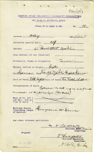 Alf Colley killed near The Thatch, 1922 (UCDA/P156/69).