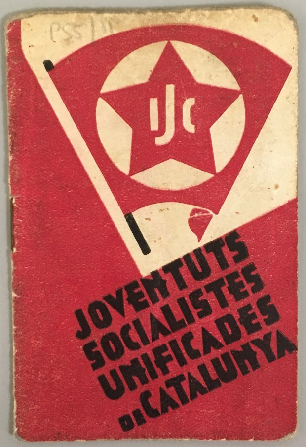 Membership book of the Unified Socialist Youth of Catalonia.