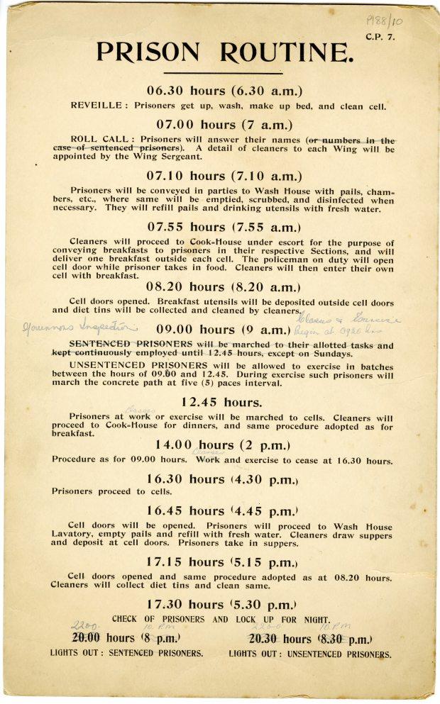 Arbour Hill Prison Routine, c. 1934