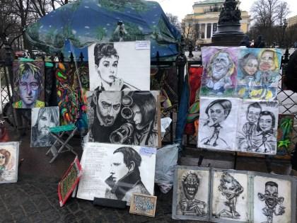 Street artists in St Petersburg
