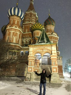 Snow at St Basils Cathedral on 25 December (it was freezing!)