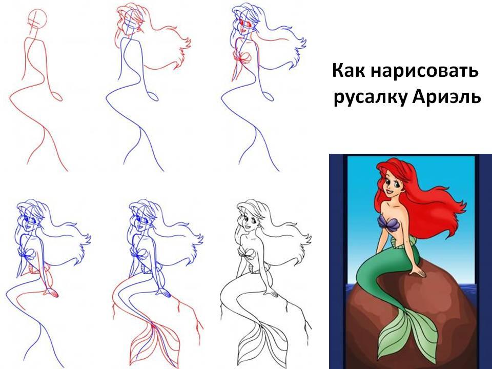 Картинки как рисовать русалок поэтапно