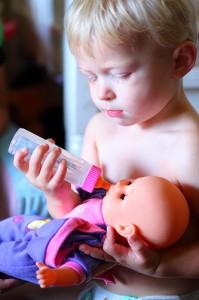 Little Daddy Bottle Feeding Baby Doll