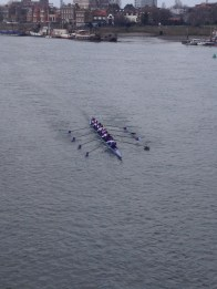 3rd 8 racing towards Hammersmith Bridge