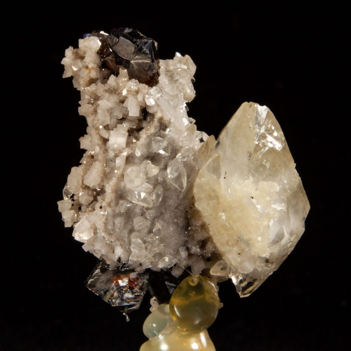Calcite and Sphalerite on Dolomite
