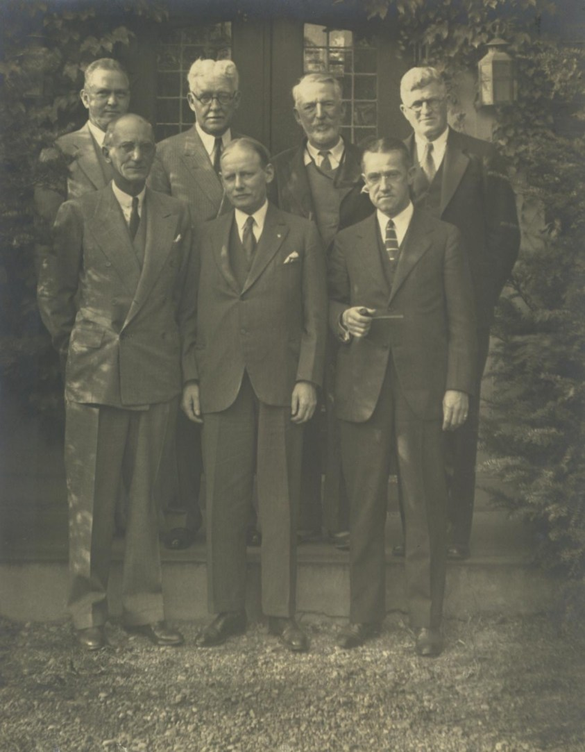 Back row: W. Richmond Tracy, Engineer and Secretary, Commissioners C.A. Reed, Charles Hansel, and Council David Armstrong. Front row: Commissioners Caxton Brown, Arthur R. Wendell and Ambrose McMannus. Undated