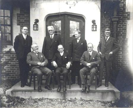 Original members of the Union County Park Commission. From left to right: seated, Commissioners Charles Hansel, Henry S. Chatfield, Caxton Brown. Standing: W.R. Tracy, Engineer and Secretary,; Commissioners Charles A. Reed, Arthur R. Wendell, David Armstrong, Counsel. Undated