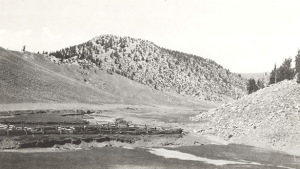 Jean Blanc's corrals in 1917. Thirty-one years later, Crooked Creek Station was built just behind the ridge on the right in the middle ground. Photo printed with the permission of The Museum of Vertebrate Zoology, University of California, Berkeley.