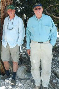 Glen MacDonald (left) and outgoing WMRC director Tony Orme amid the bristlecone pine forest. Image courtesy Glen MacDonald