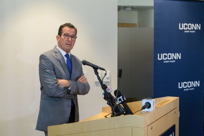 Gov. Dannel P. Malloy, speaking at UConn Avery Point on Monday, vowed to continue fighting against efforts to impose legislative cuts on UConn in a budget he described as 'a frontal assault' on the state's flagship university. (Peter Morenus/UConn Photo)