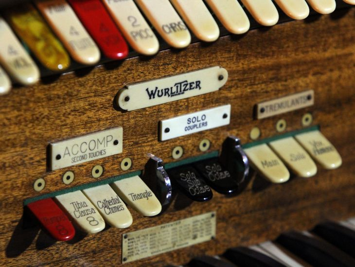 """UCPAC's """"Biggest Little Wurlitzer"""" – closeup detail of keys and switches"""
