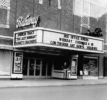 """""""The Rahway Theatre"""" – the UCPAC Main Stage marquee before the center was renamed in 1985"""