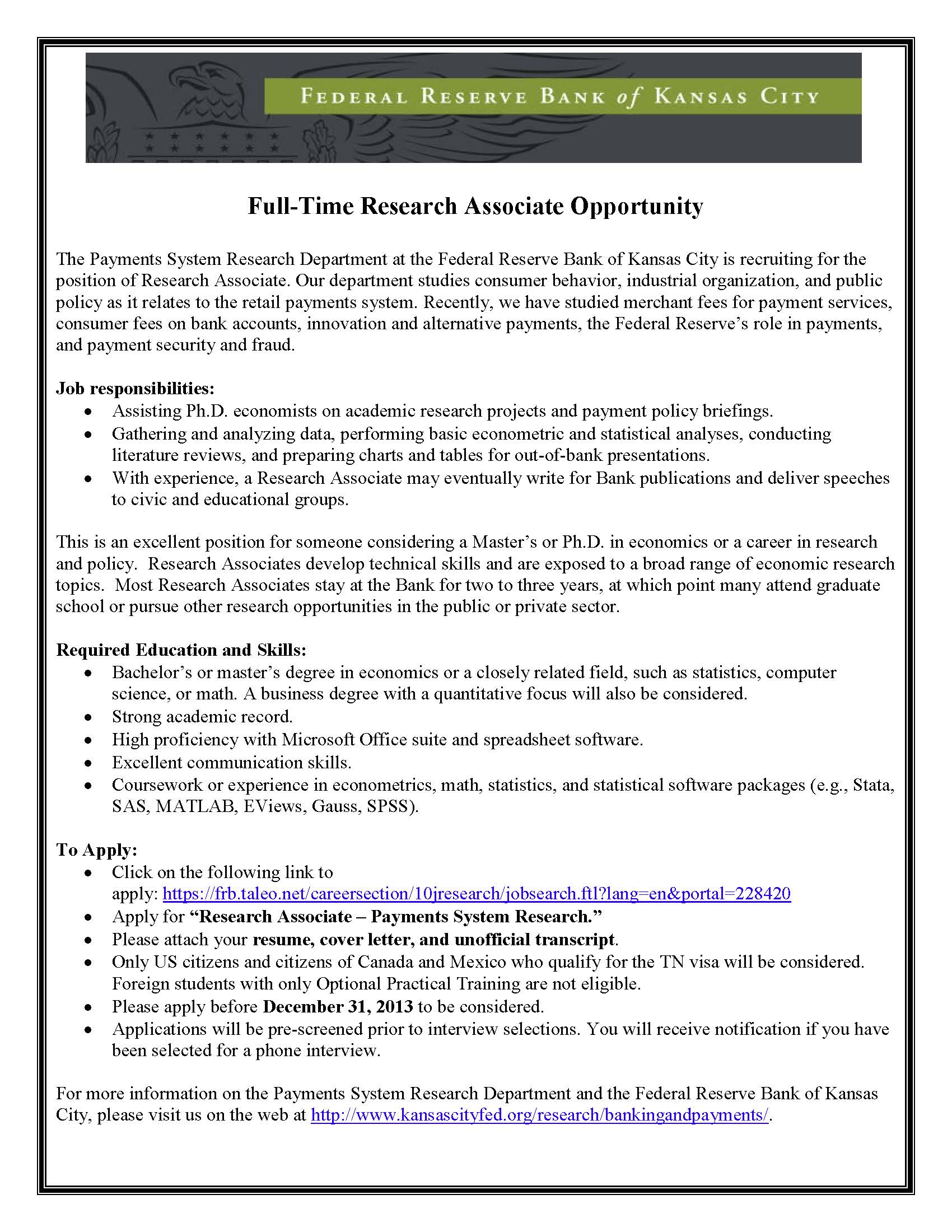 Research Associate Opportunity – Federal Reserve Bank of Kansas City ...