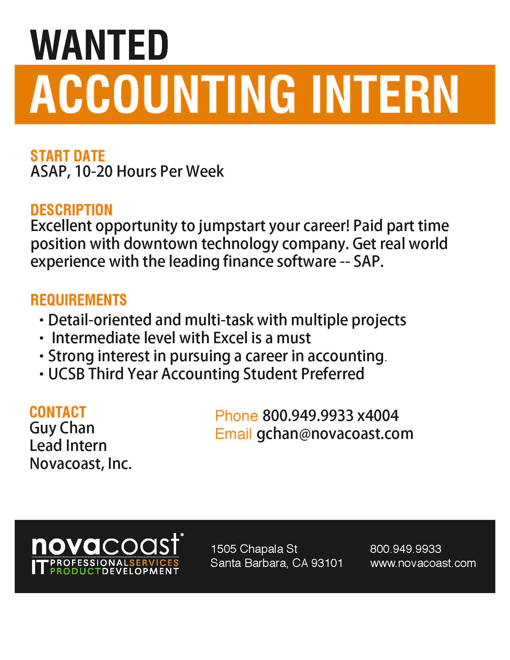 Novocoast Wanted Accounting Intern Santa Barbara