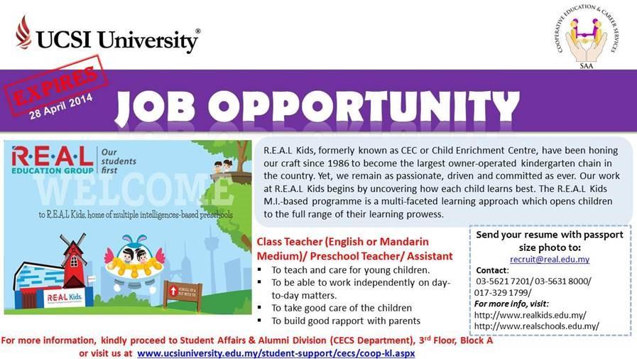 REAL Kids Class Teacher English or Mandarin Medium