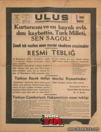 10 kasım 1938 gazete manşetleri (11)