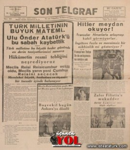 10 kasım 1938 gazete manşetleri (6)