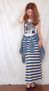 5ボーダーマキシ丈スカート×デニムシャツ