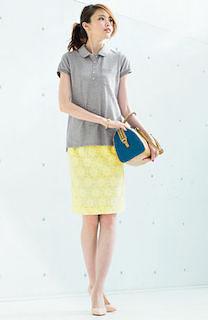 5夏ポロシャツ×黄色タイトスカート