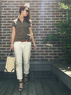 3夏ポロシャツ×白パンツ