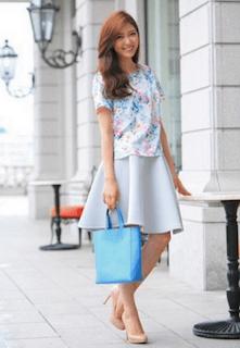 4花柄Tシャツ×フレアスカート
