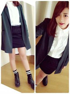 10緑のテーラードジャケット×白ブラウス×黒タイト