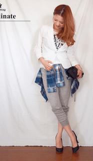 1白のテーラードジャケット×グレーのスウェットパンツ×チェックシャツ