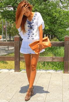 5チュニック×ショートパンツ×リゾートファッションコーデ