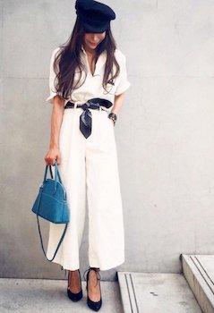 バンダナ×白シャツ×スカーチョ