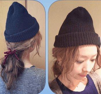 ネイビーニット帽×ルーズなポニーテール