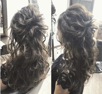 結婚式で人気のミディアムのボリュームカールの髪型