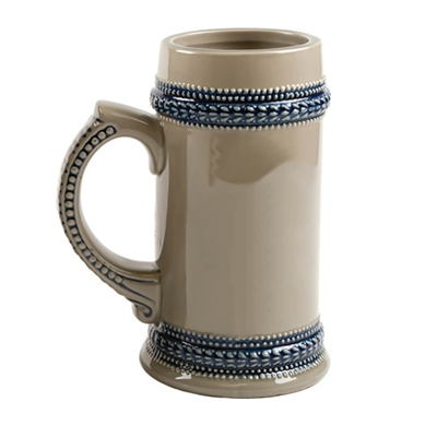 GRAY BEER STEIN W/BLUE TRIM – 22oz