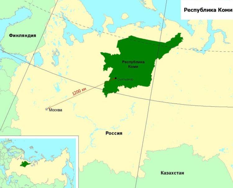 Республика Коми на карте